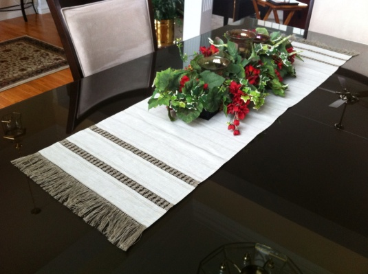 Here is the table runner on my dining room table.