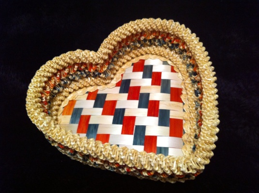 A beautifully woven straw basket,
