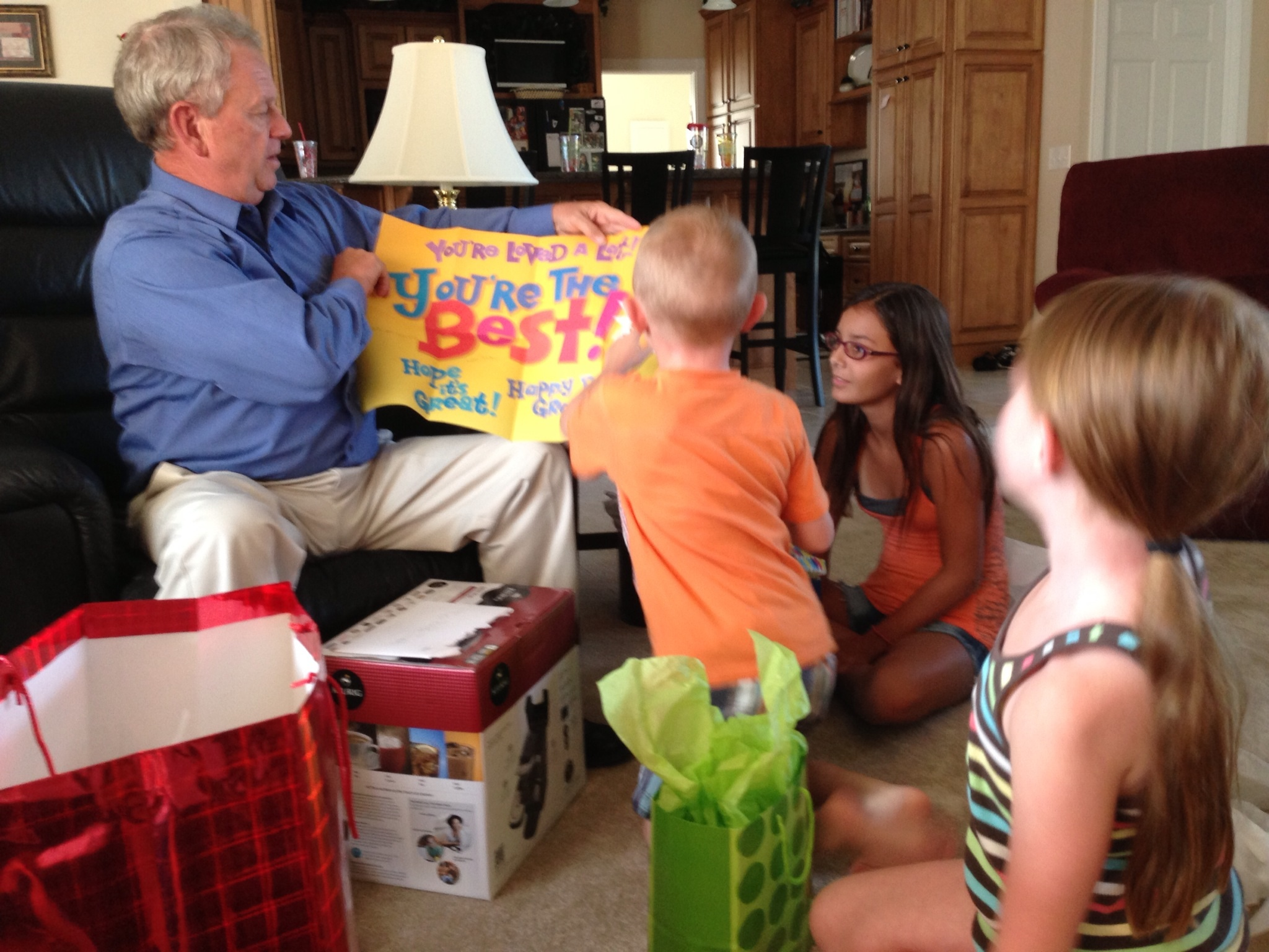 The GIANT birthday card from the grandkids.