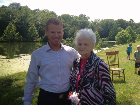 Our oldest son, Jeff, with grandma.  As you can see, the outdoor country setting was beautiful.